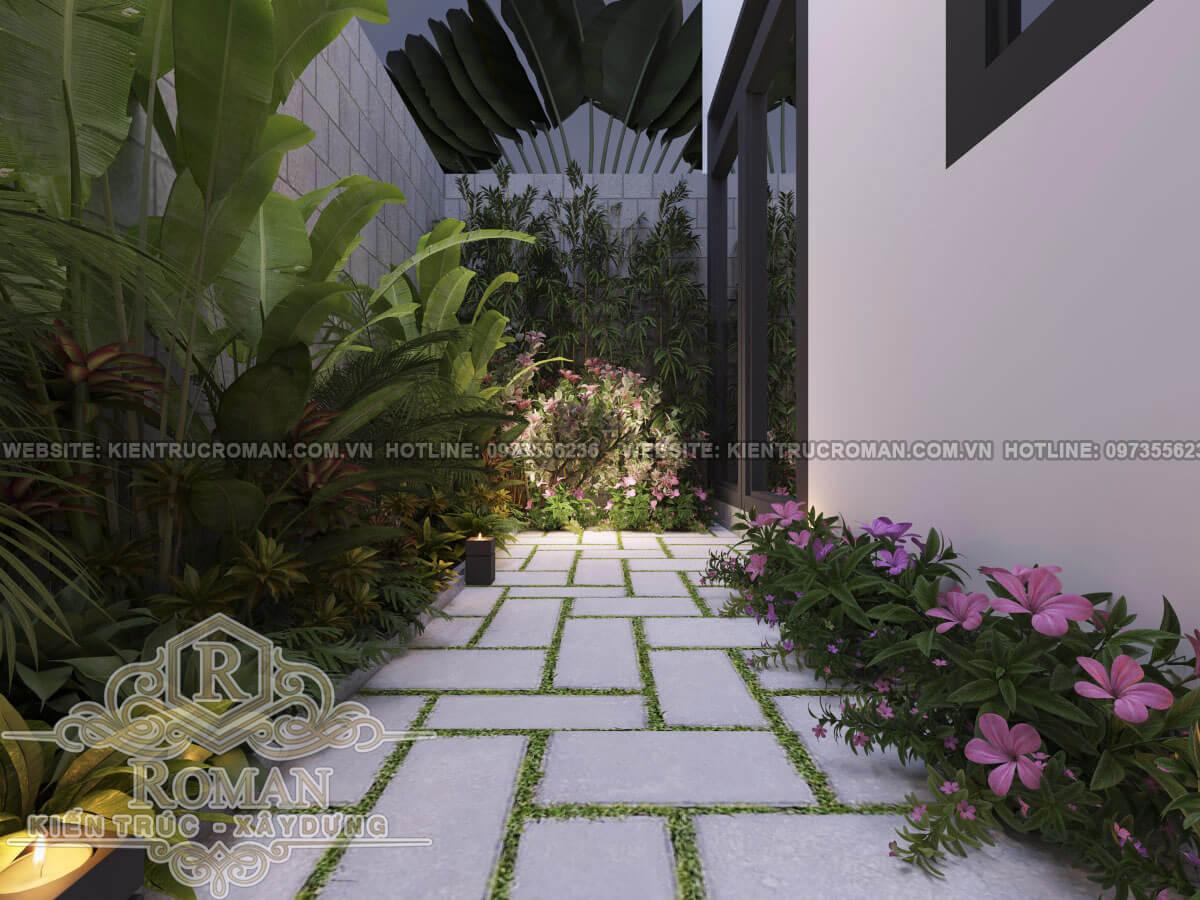 sân vườn mẫu nhà phố đẹp 3 tầng