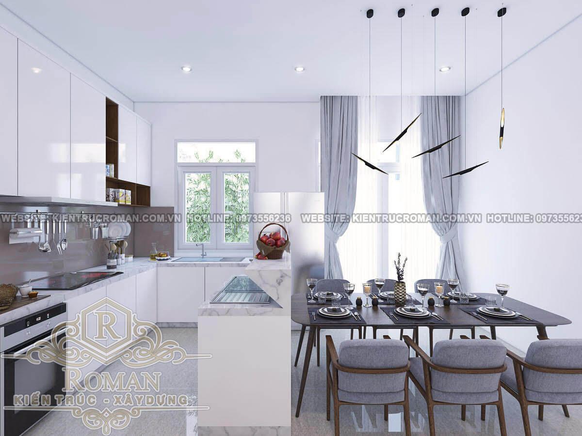 phòng ăn và bếp mẫu nhà phố đẹp 3 tầng