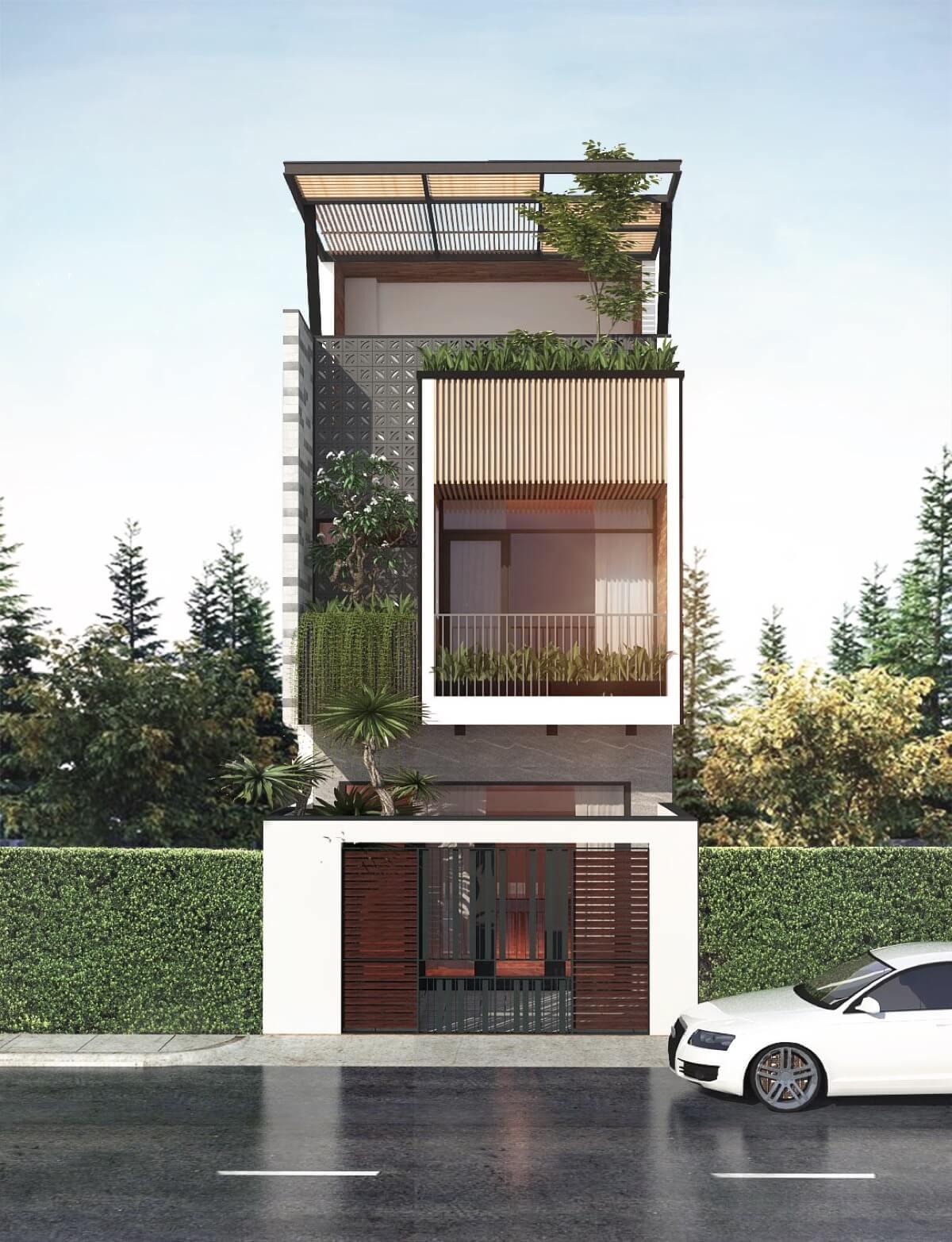thiết kế mẫu nhà phố 3 tầng hiện đại gần gũi với thiên nhiên 1
