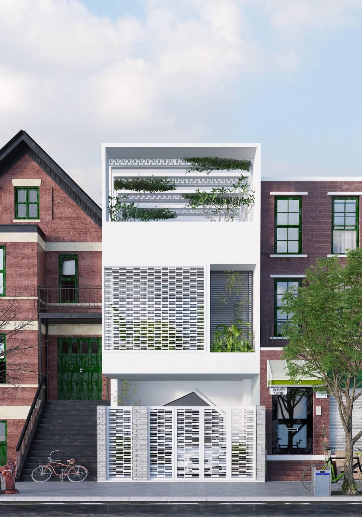 thiết kế mẫu nhà phố 3 tầng hiện đại gần gũi với thiên nhiên 9
