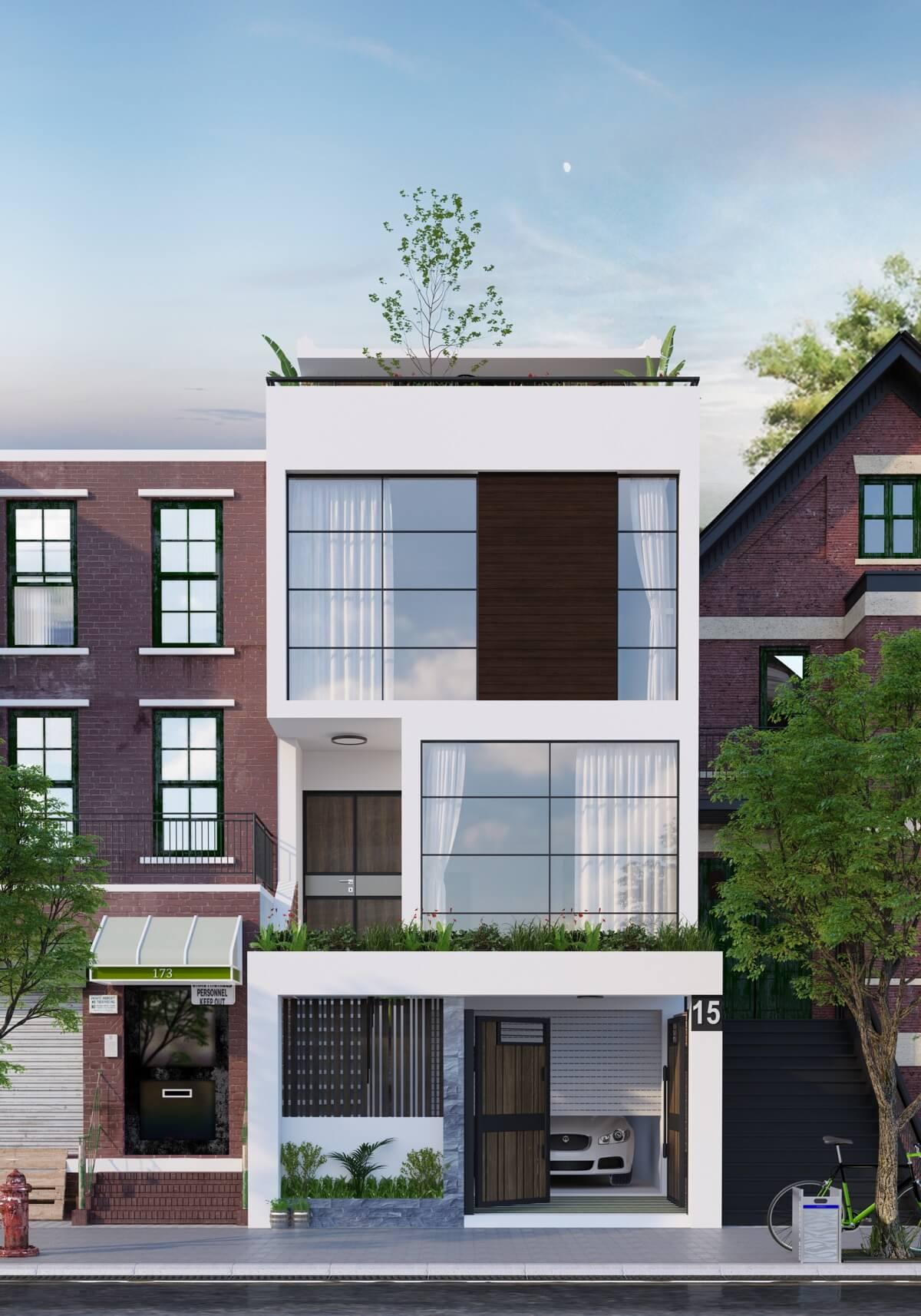 thiết kế mẫu nhà phố 3 tầng hiện đại gần gũi với thiên nhiên 10