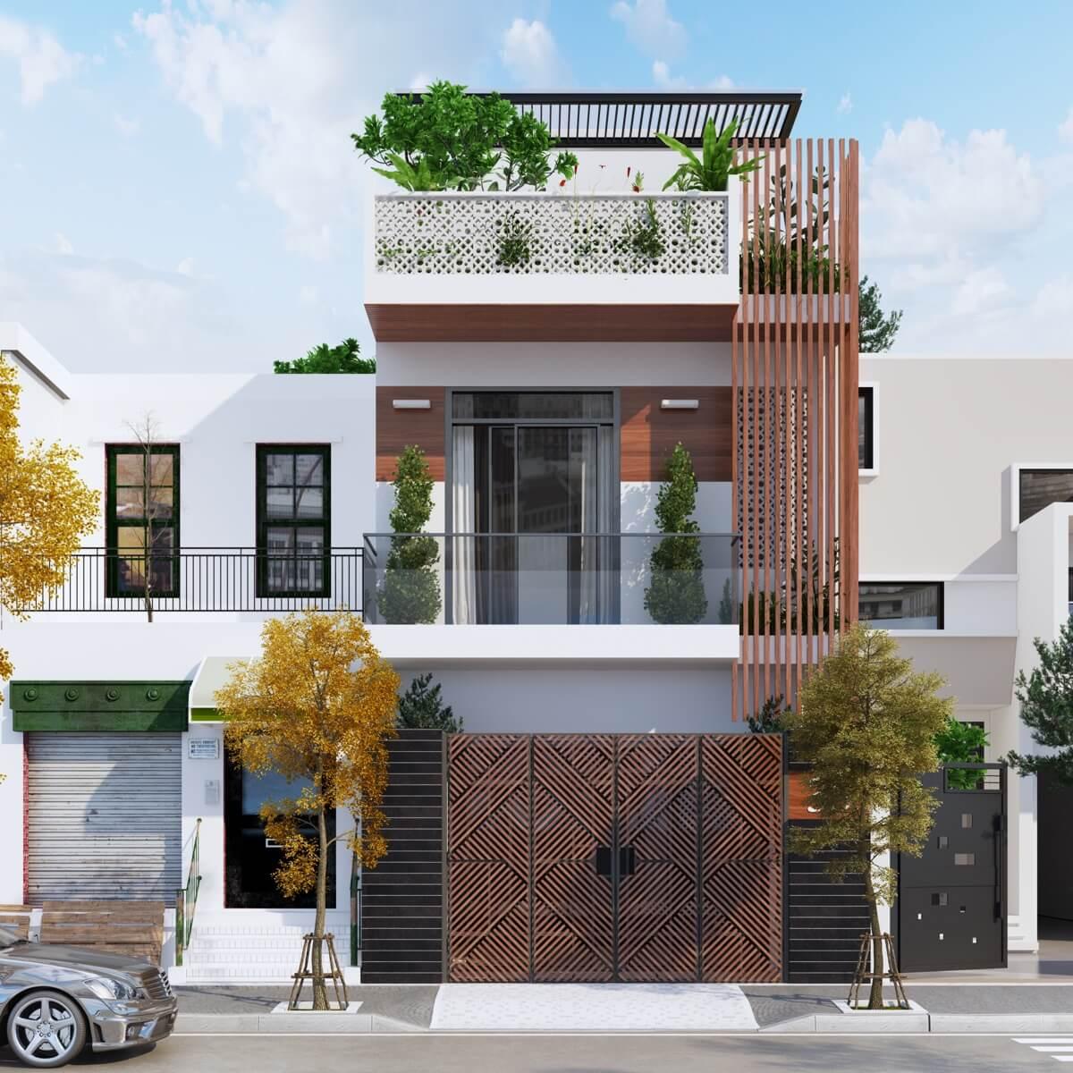 thiết kế mẫu nhà phố 3 tầng hiện đại gần gũi với thiên nhiên 11