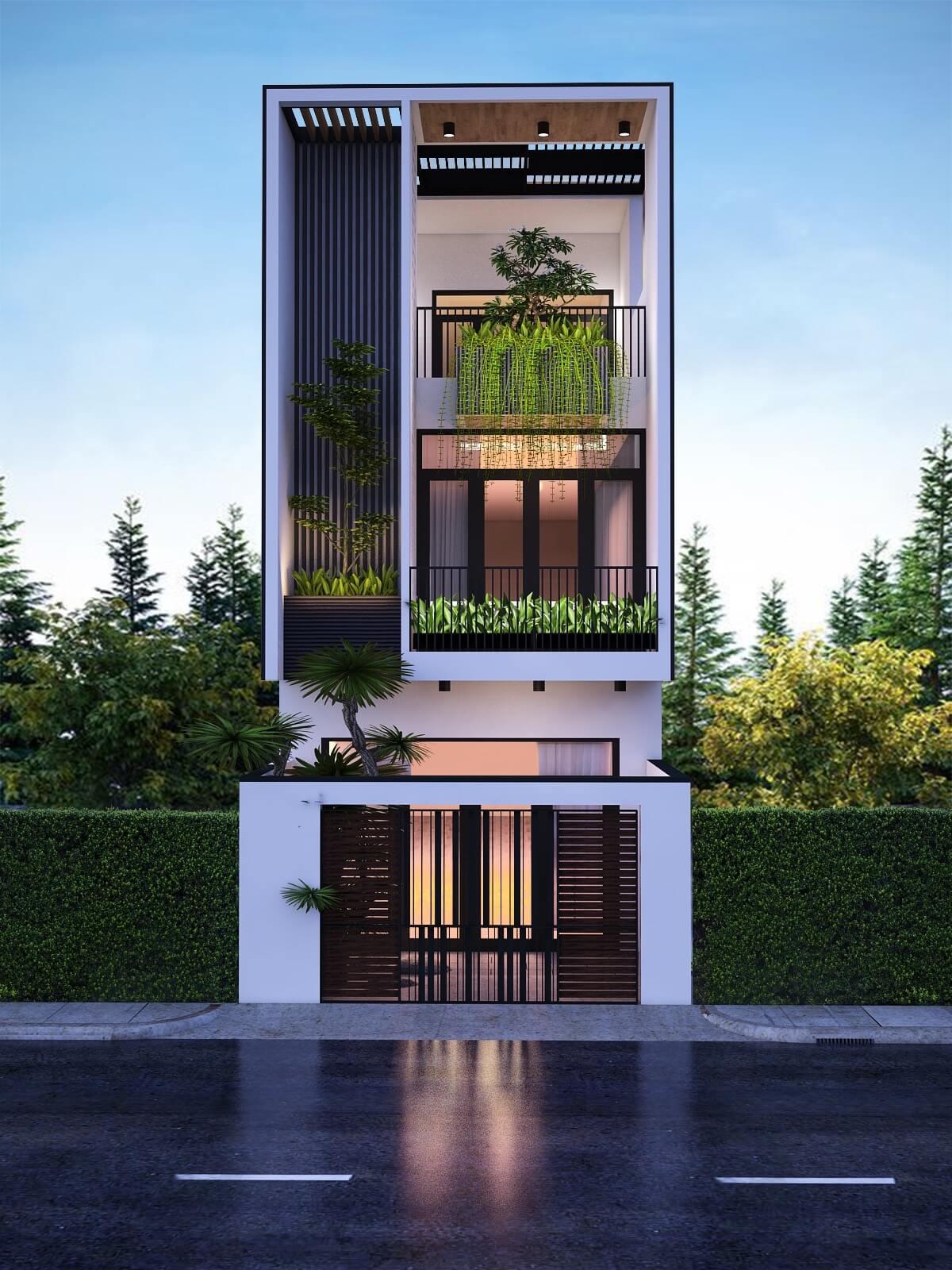 thiết kế mẫu nhà phố 3 tầng hiện đại gần gũi với thiên nhiên 2