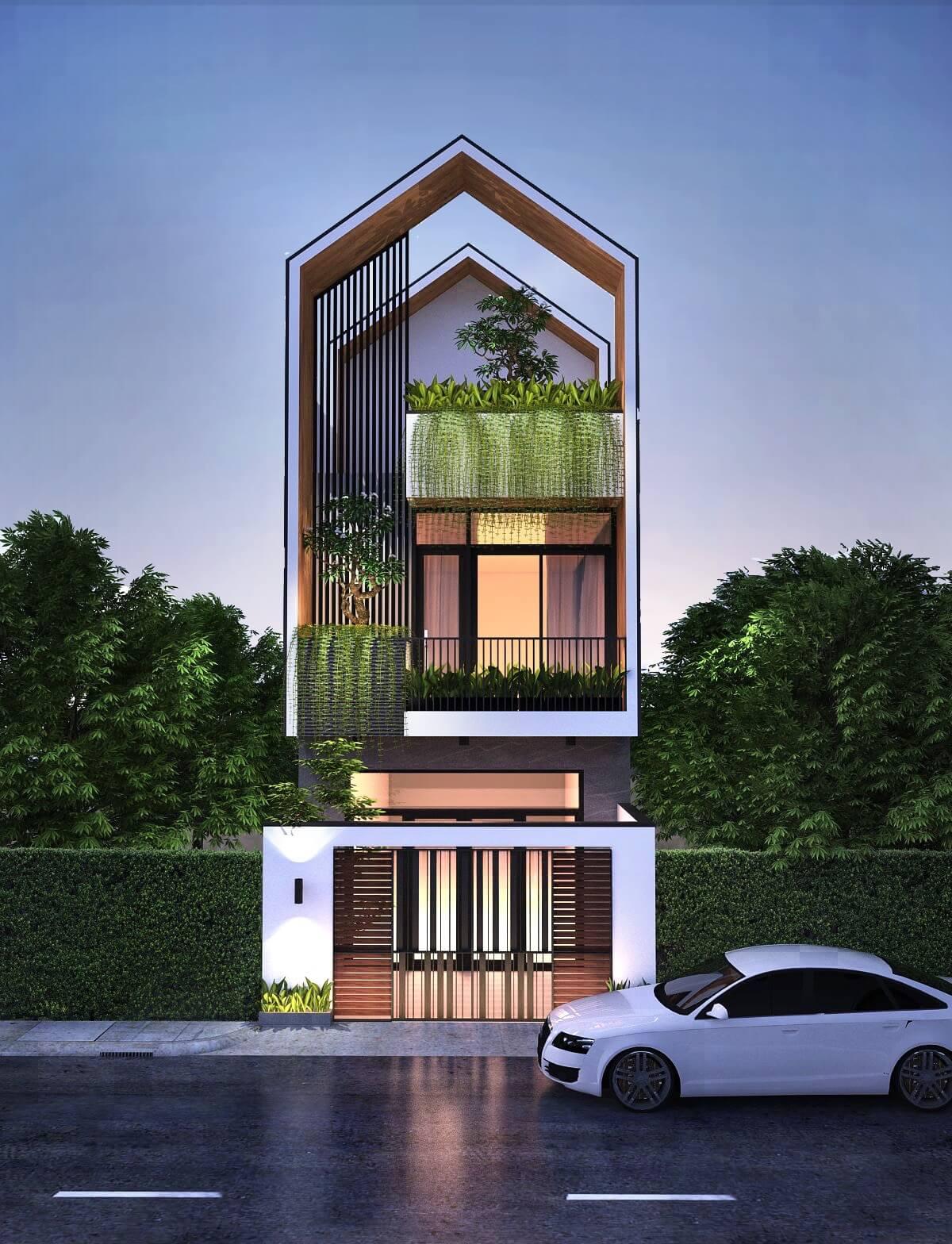 thiết kế mẫu nhà phố 3 tầng hiện đại gần gũi với thiên nhiên 3