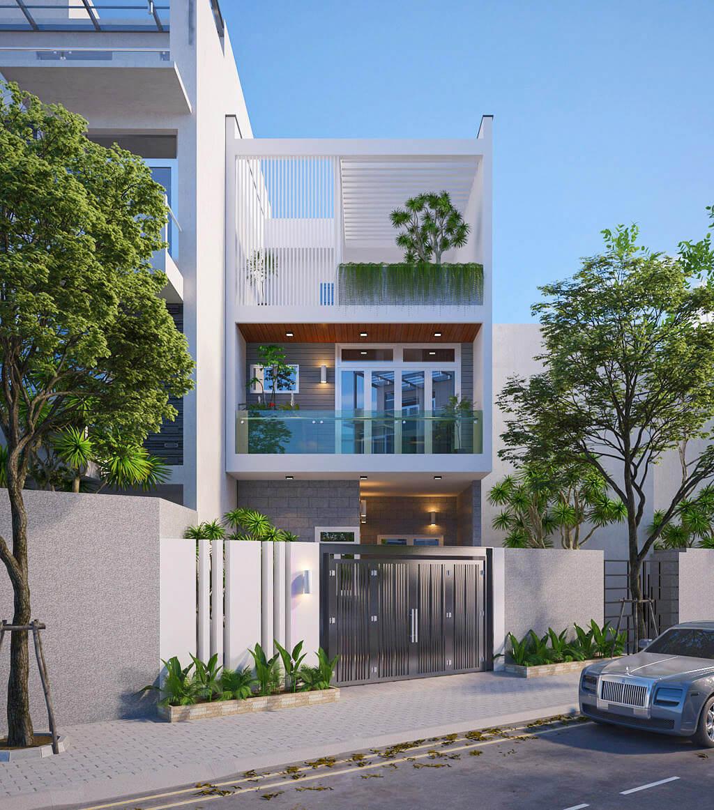 thiết kế mẫu nhà phố 3 tầng hiện đại gần gũi với thiên nhiên 4