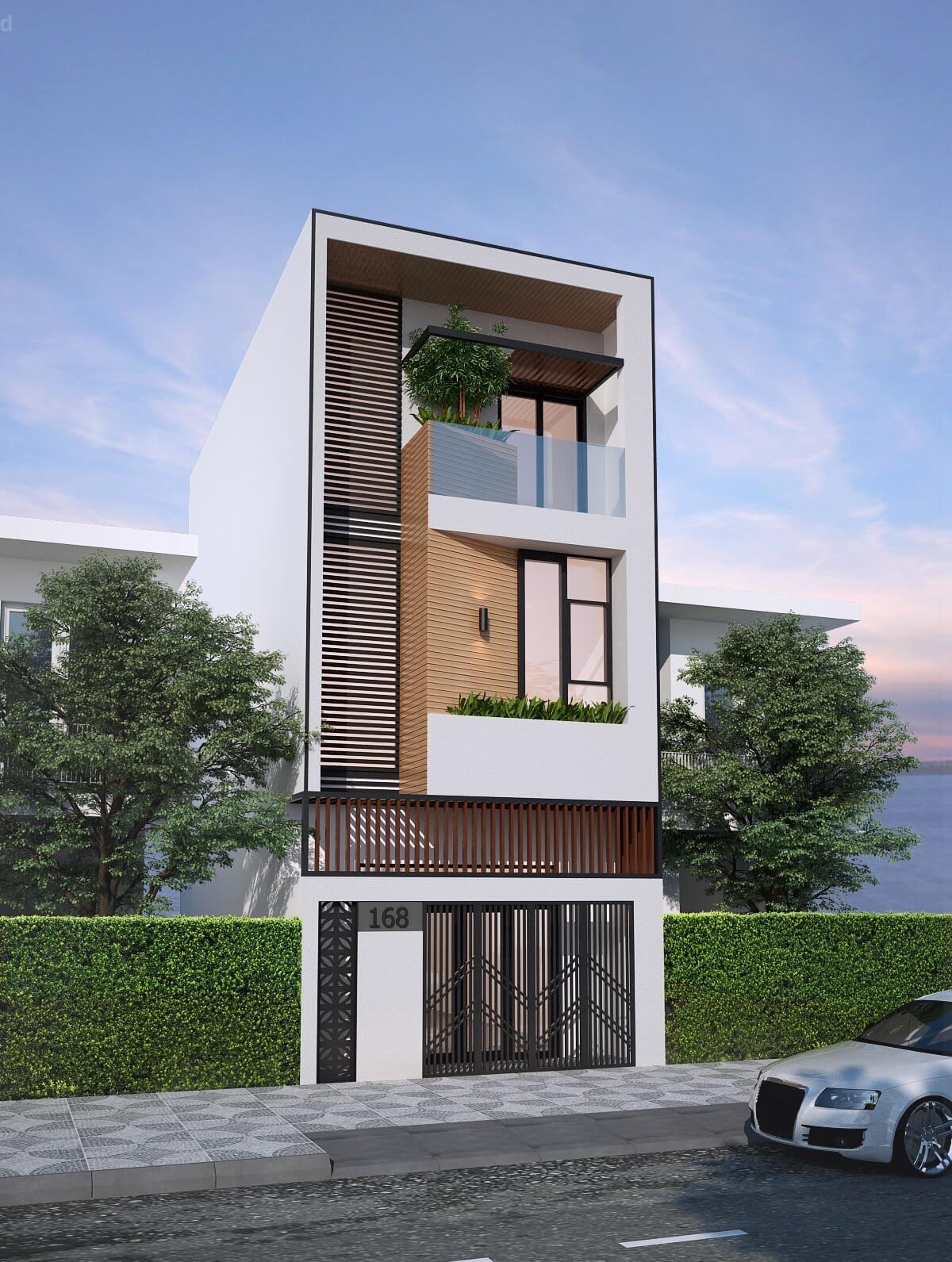 thiết kế mẫu nhà phố 3 tầng hiện đại gần gũi với thiên nhiên 5
