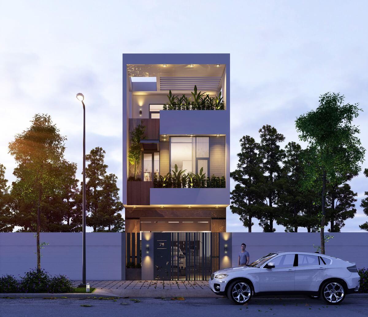 thiết kế mẫu nhà phố 3 tầng hiện đại gần gũi với thiên nhiên 6