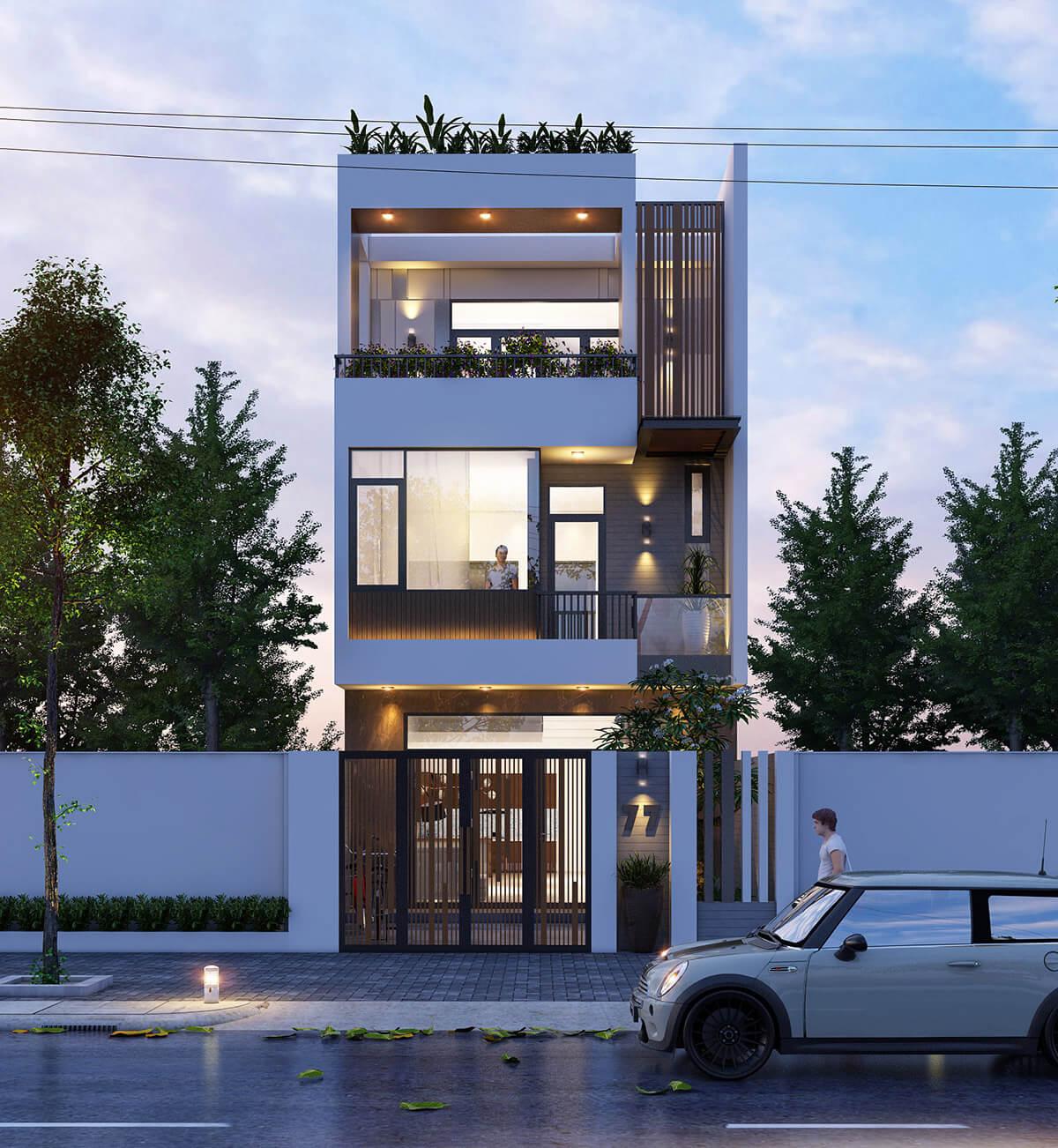 thiết kế mẫu nhà phố 3 tầng hiện đại gần gũi với thiên nhiên 7