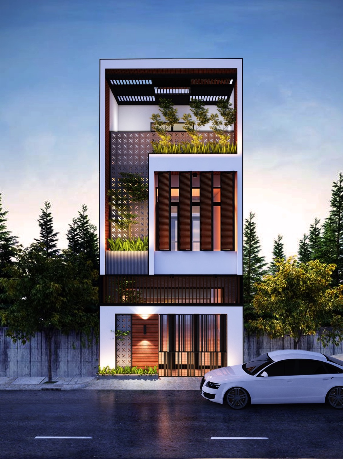 thiết kế mẫu nhà phố 3 tầng hiện đại gần gũi với thiên nhiên 8