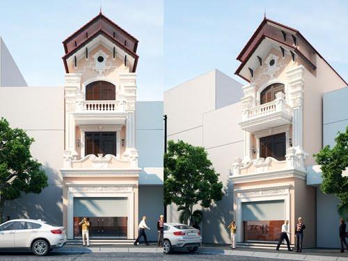 mẫu nhà phố 3 tầng 5x16m