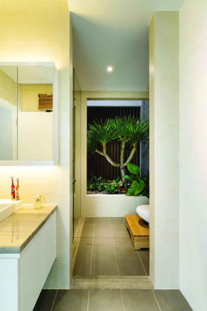 phòng tắm mẫu nhà phố 5x20m hiện đại
