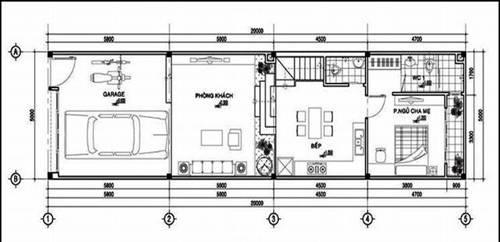 mặt bằng tầng trệt mẫu nhà phố 5x20m 2 tầng hiện đại