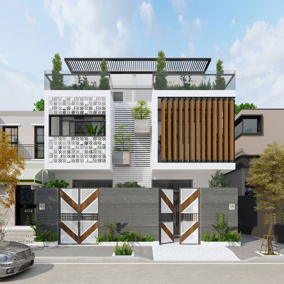 mẫu nhà phố đẹp 2 tầng