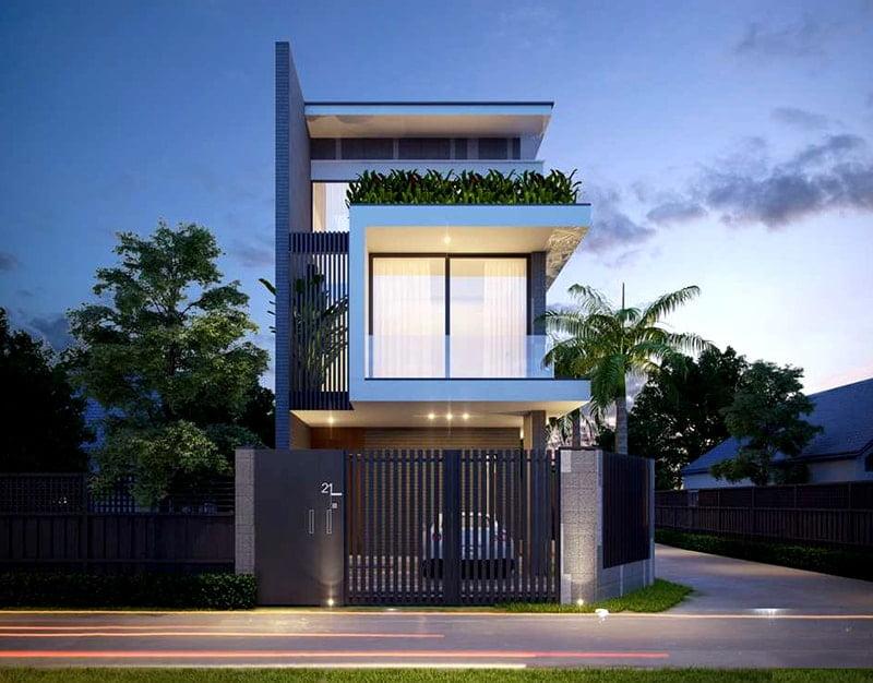 mẫu nhà phố mặt tiền rộng 8m 14