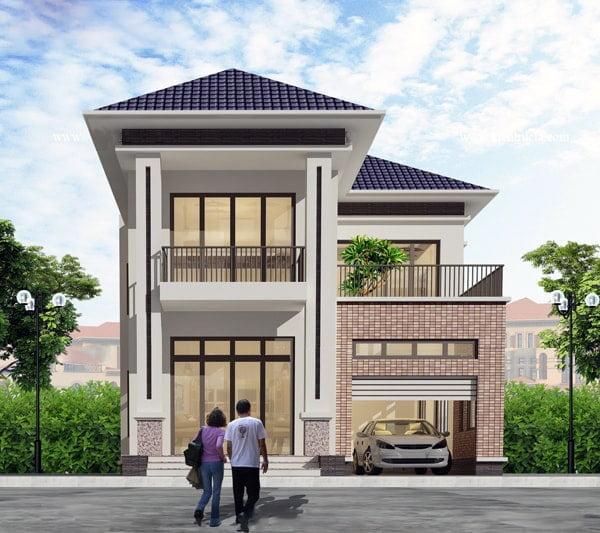 mẫu nhà phố mặt tiền rộng 8m 4