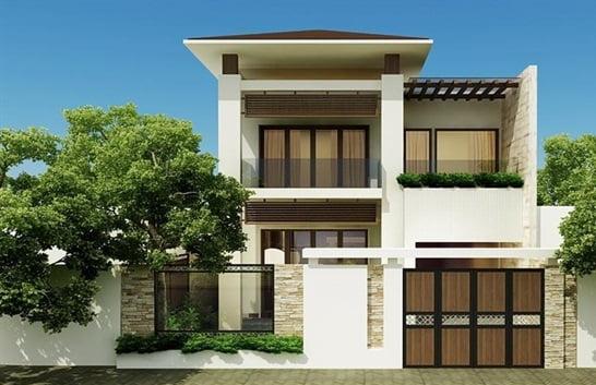 mẫu nhà phố mặt tiền 8m 2 tầng 12