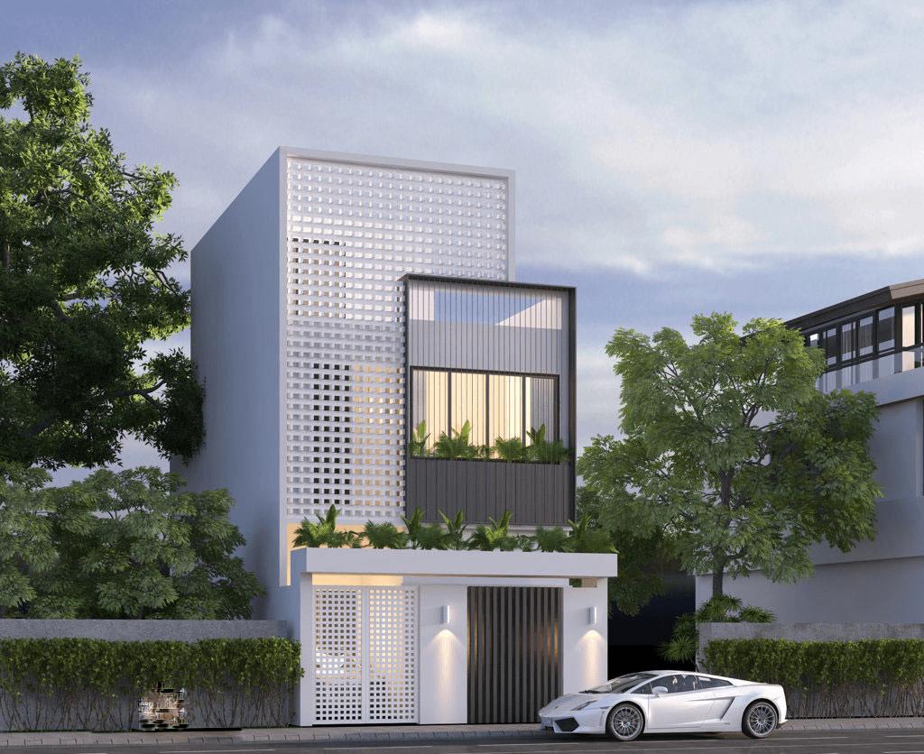 mẫu nhà phố mặt tiền 8m 2 tầng 18