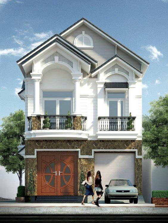 mẫu nhà phố mặt tiền 8m 2 tầng 6