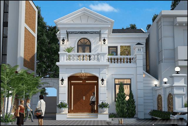mẫu nhà phố mặt tiền 8m 2 tầng 10