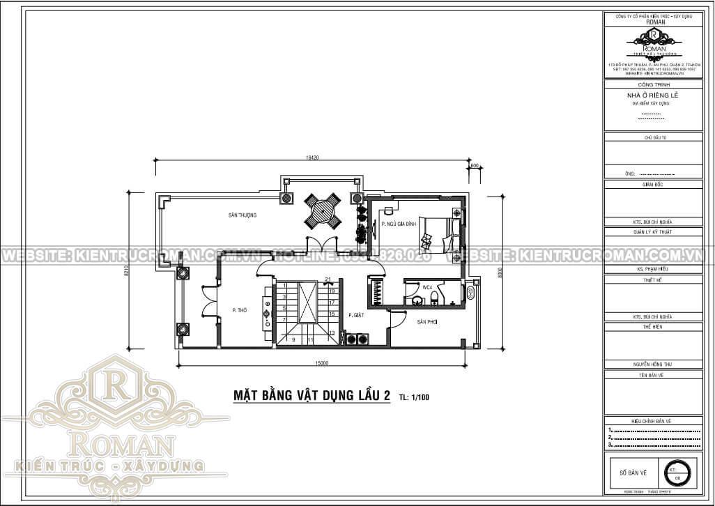 mẫu nhà tân cổ điển 3 tầng bản vẽ