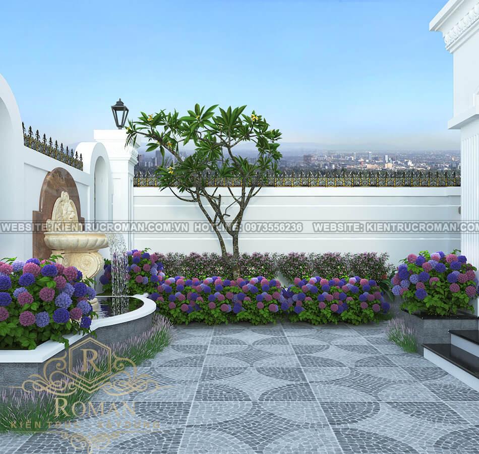 không gian xanh mẫu nhà tân cổ điển 3 tầng tại thủ đức