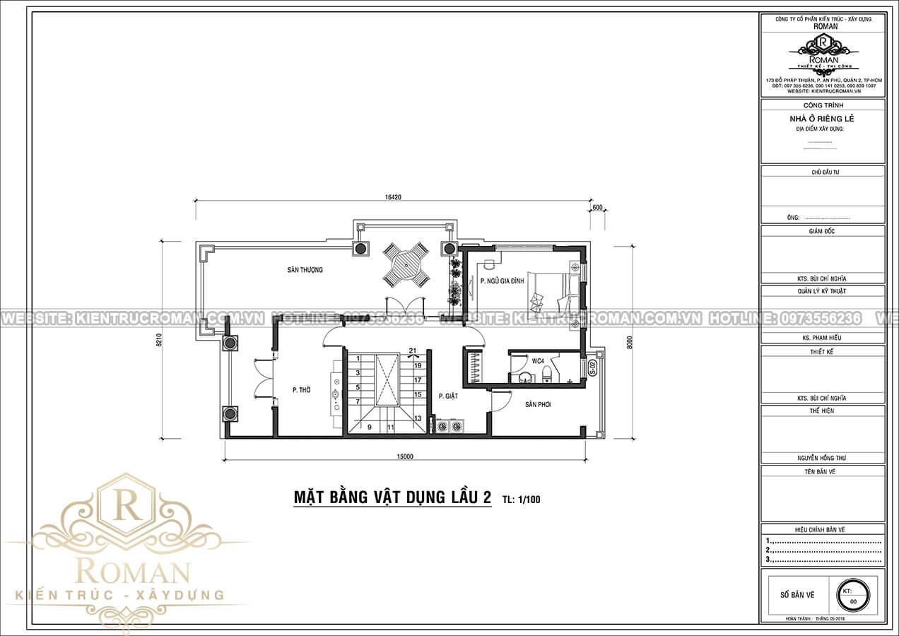 mặt bằng lầu 2 nhà tân cổ điển 3 tầng tại thủ đức