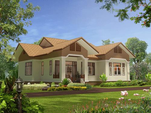Thiết kế nhà vườn 1 tầng 4 phòng ngủ mái thái đẹp sang trọng