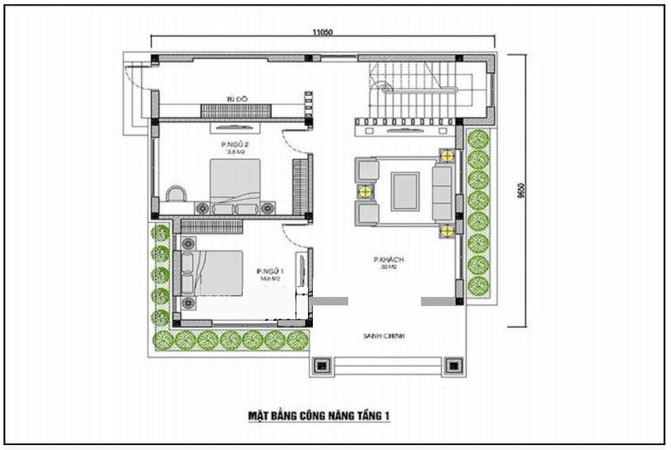 mẫu nhà vuông 2 tầng đơn giản