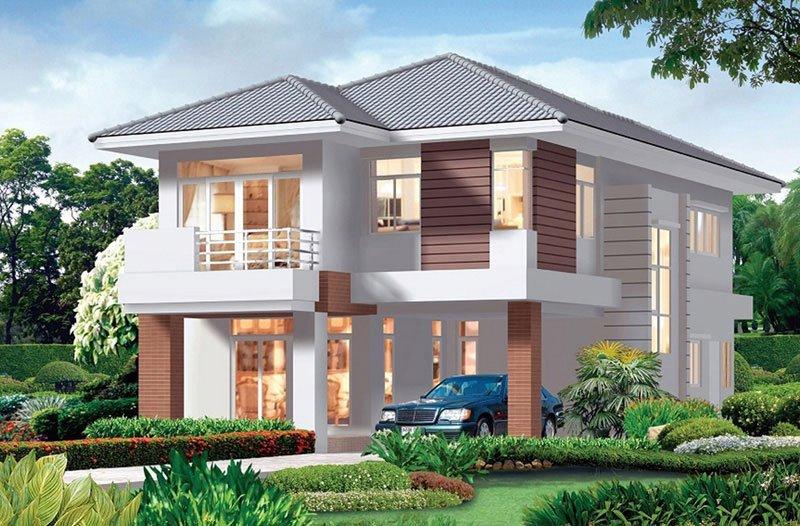 mẫu nhà vuông 2 tầng mái thái