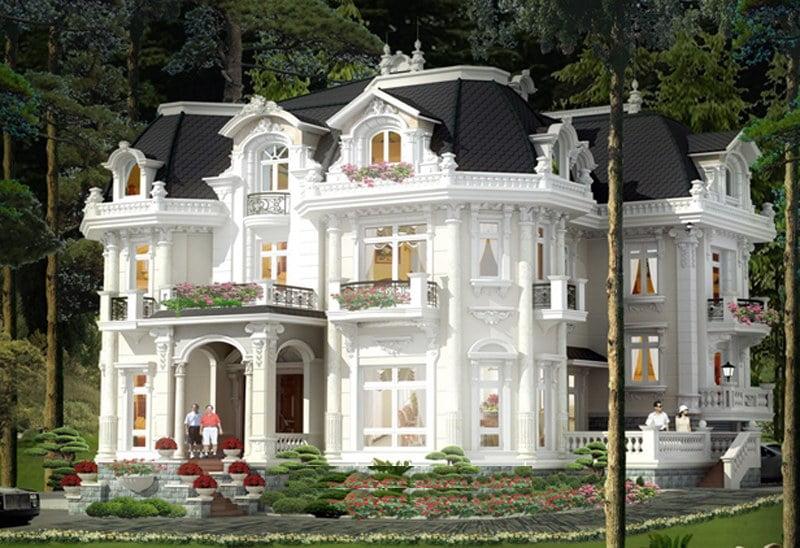 Mẫu thiết kế biệt thự 2 tầng kiểu châu âu đẹp 10