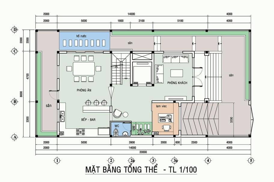 Mẫu thiết kế biệt thự 3 tầng mặt tiền 8m 8