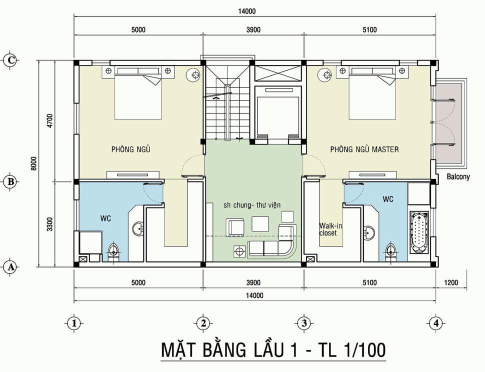 Mẫu thiết kế biệt thự 3 tầng mặt tiền 8m 9