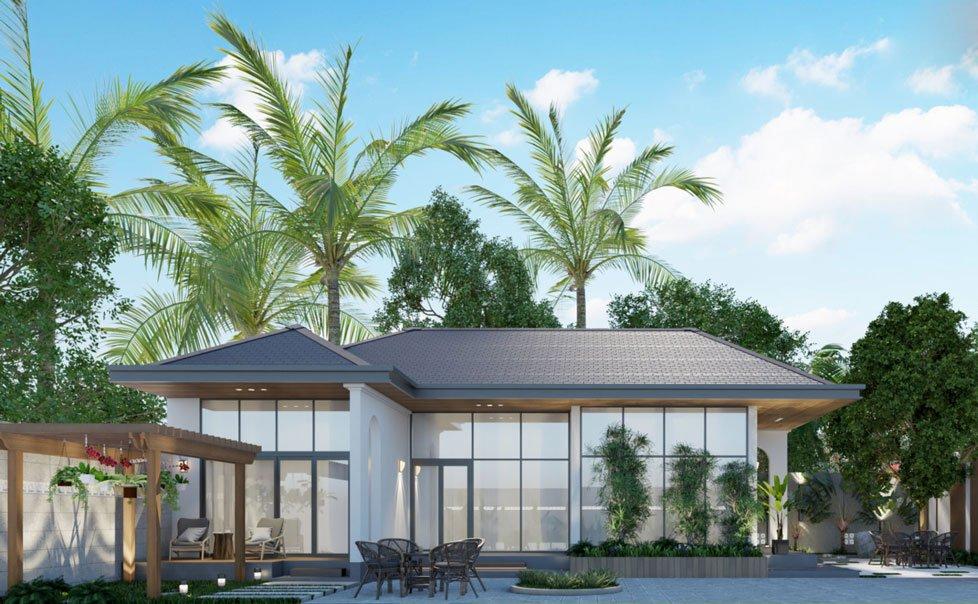 mẫu thiết kế biệt thự nhà vườn 1 tầng 3 phòng ngủ 1