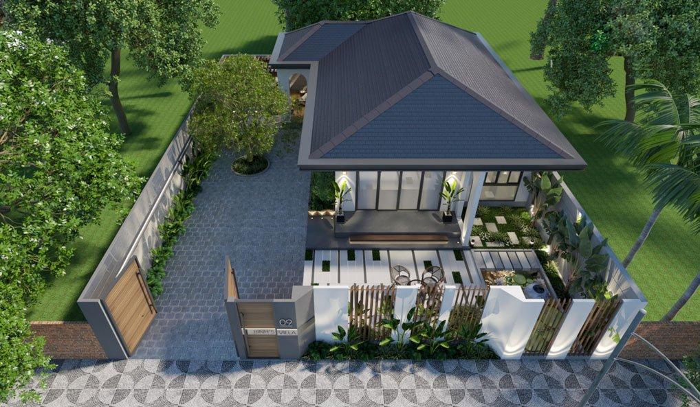 mẫu thiết kế biệt thự nhà vườn 1 tầng 3 phòng ngủ 2