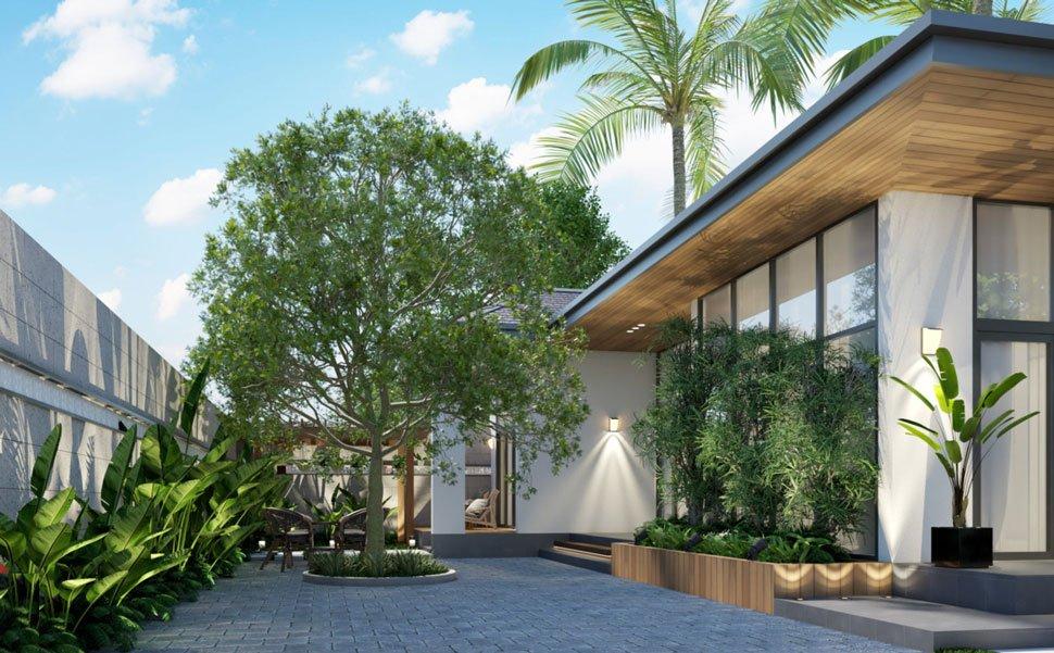 mẫu thiết kế biệt thự nhà vườn 1 tầng 3 phòng ngủ 3
