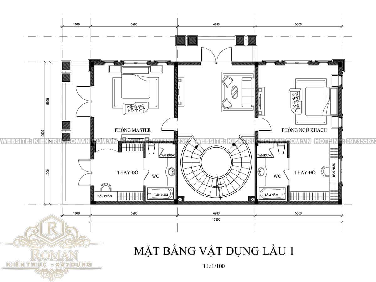lầu 1 mẫu thiết kế biệt thự tân cổ điển