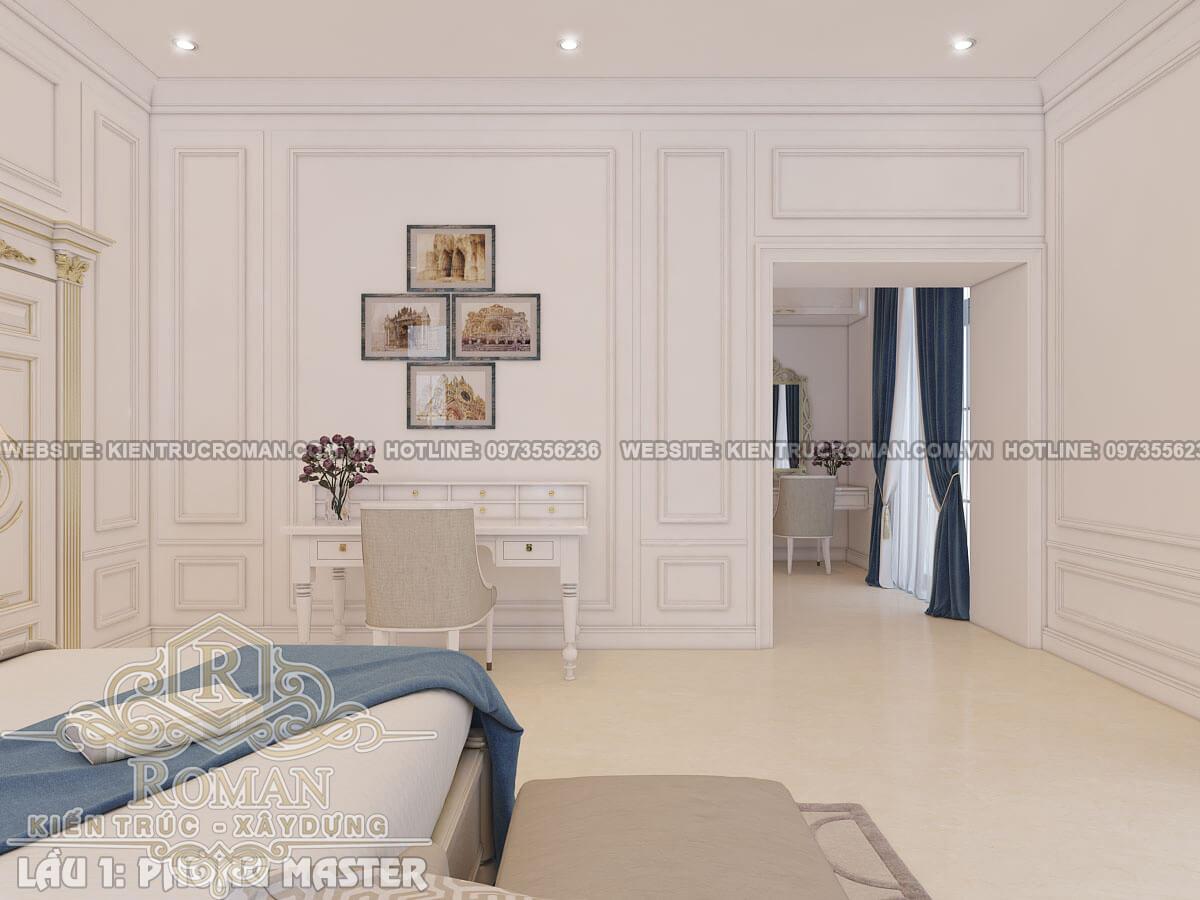 phòng ngủ master mẫu thiết kế biệt thự tân cổ điển