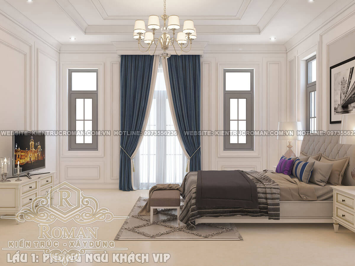 phòng ngủ khách mẫu thiết kế biệt thự tân cổ điển