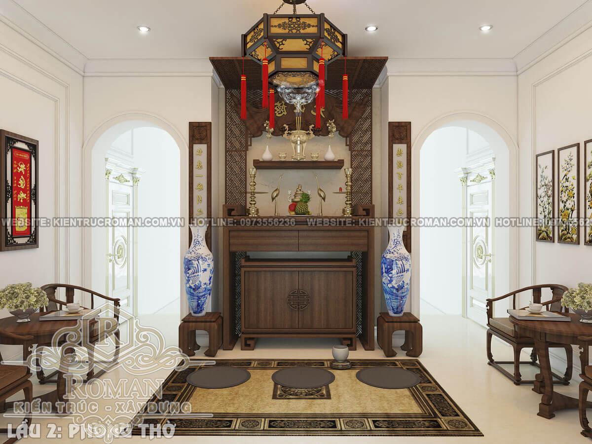 phòng thờ mẫu thiết kế biệt thự tân cổ điển