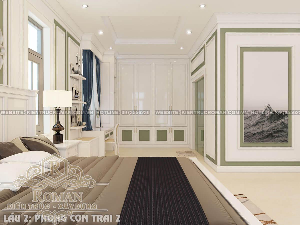 phòng ngủ con trai mẫu thiết kế biệt thự tân cổ điển