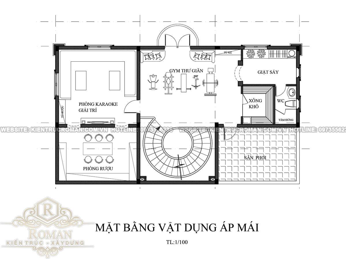tầng áp mái mẫu thiết kế biệt thự tân cổ điển