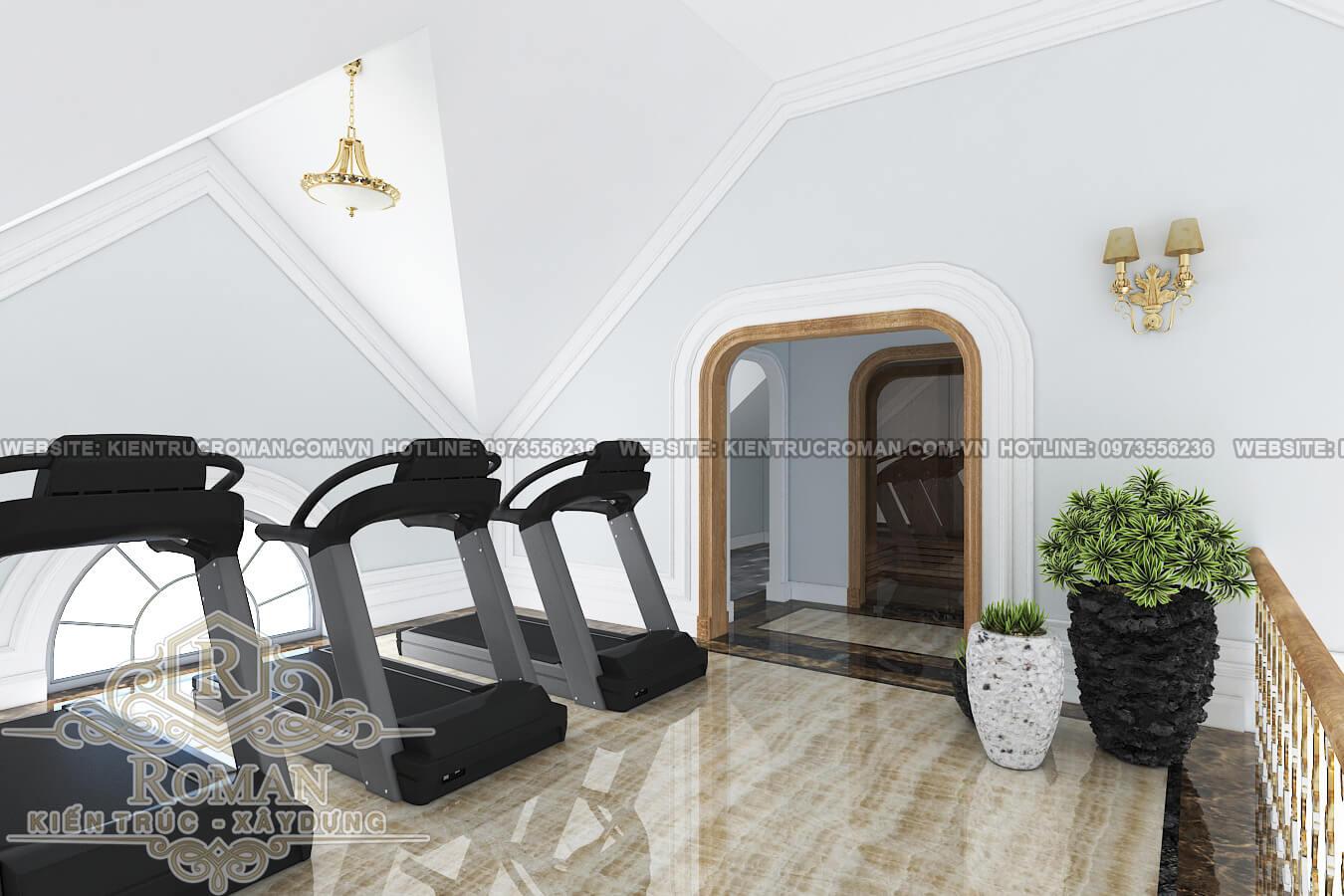 phòng gym mẫu thiết kế biệt thự tân cổ điển