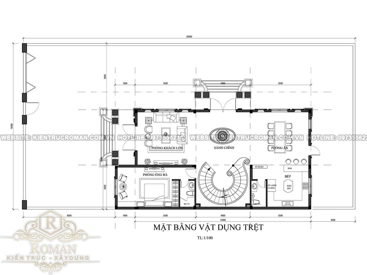 mặt bằng tầng trệt mẫu thiết kế biệt thự tân cổ điển