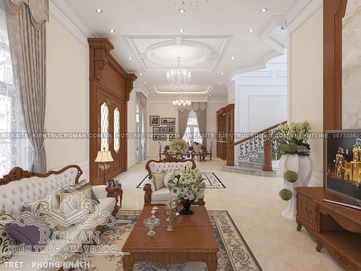 phòng khách mẫu thiết kế biệt thự tân cổ điển