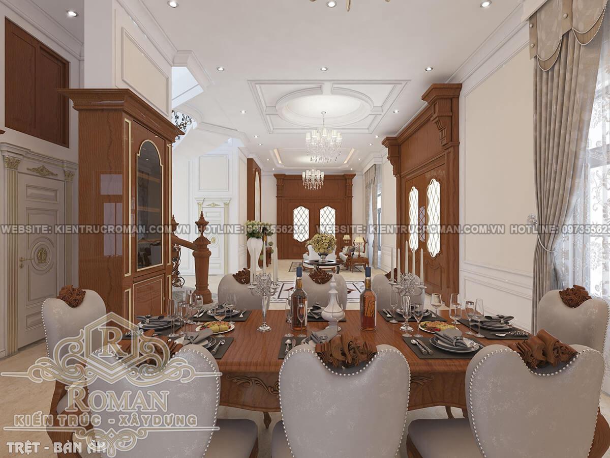 phòng ăn mẫu thiết kế biệt thự tân cổ điển