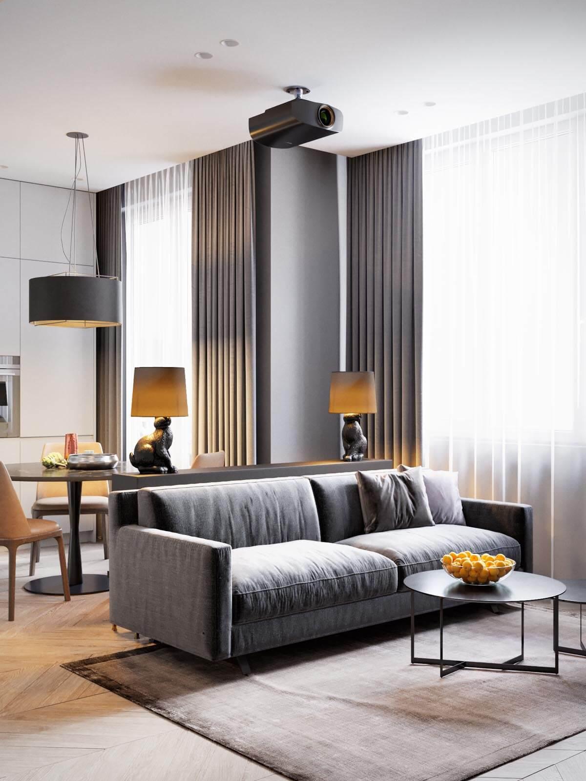 Mẫu thiết kế căn hộ chung cư 50m2 hiện đại 2