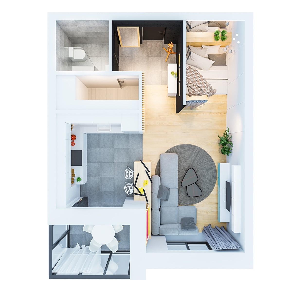 mẫu thiết kế căn hộ diện tích nhỏ đẹp 19
