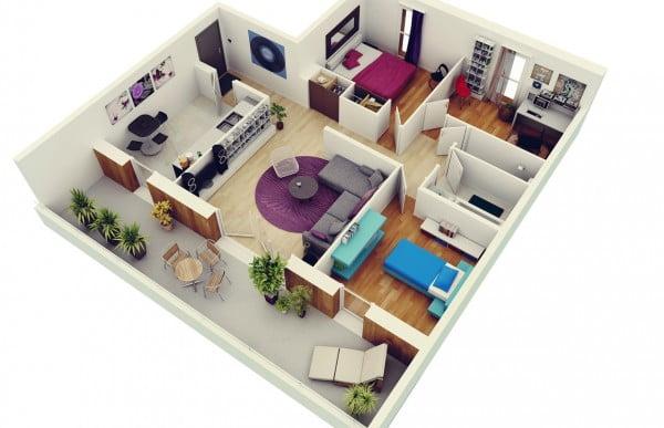 Mẫu thiết kế chung cư 3 phòng ngủ hiện đại sang trọng nhất 1