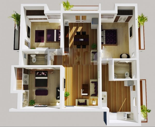 Mẫu thiết kế chung cư 3 phòng ngủ hiện đại sang trọng nhất 11