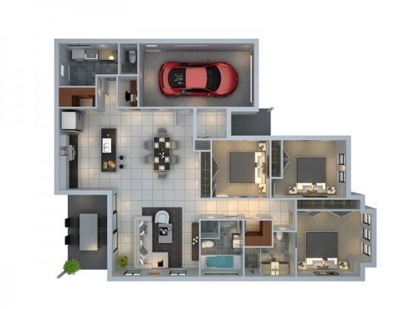 Mẫu thiết kế chung cư 3 phòng ngủ hiện đại sang trọng nhất 12